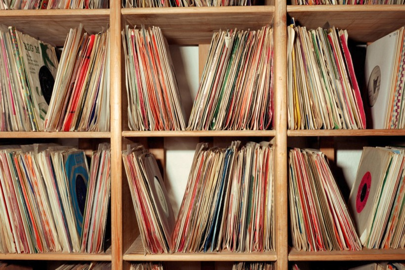 Vinyl records on shelves